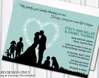 Blended Family Wedding Invitation - Blending, Stepfamily, Stepchildren, Aqua, Teal, Bride, Groom, Kids, Dog, Black Silhouettes, PRINTABLE