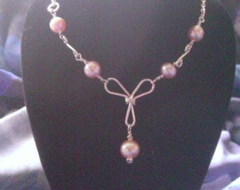 Wire wrapped jewelry , handmade sterling silver wire with fresh water pink fresh water pearl