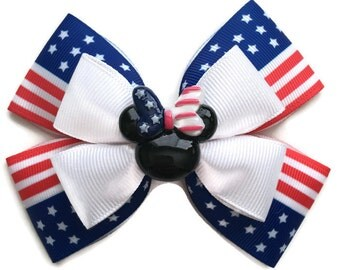 4th of July Minnie Mouse Inspired Stars & Stripes Disney Hair Bow