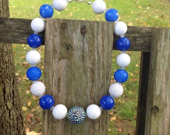 Blue and white, chunky bubble gum bead necklace, kids necklace, girls chunky necklace, bubblegum bead, blue chunky necklace, chunky bead