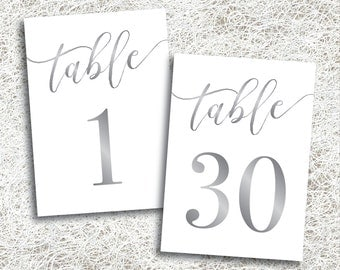 Printable Silver Table Numbers 1 - 30 | Instant Download | Silver Wedding Table Numbers | Platinum Table Numbers | Gray Grey | (FROST Set)