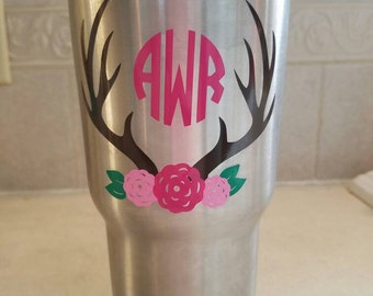 Antler And Flowers With Monogram Vinyl Yeti Rtic Decal Sticker