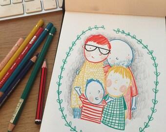 original A5 custom family portrait by Sian Wheatcroft