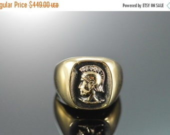 ON SALE 14K 5 Diamond Roman Soldier Ring Size 4.5 Yellow Gold