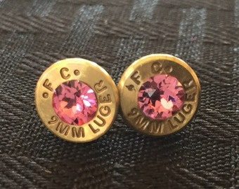 9MM Bullet Earrings with Swarovski Crystals