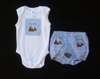 """Baby boys outfit, Clothing for baby boys, 2 piece outfit, Truck outfit, size 3-6 months, """"READY TO SHIP"""""""