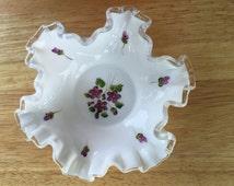 Vintage Fenton Violets in the Snow handpainted Silver Crest Bon Bon