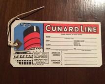 Original 1959 Cunard Line Steamship Luggage Tag - Queen Mary