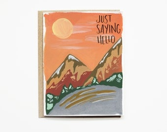 Blank Greeting Card   Illustrated Greeting Card with Hand Lettering   Stationery Set with Hand lettering   Just Because Card