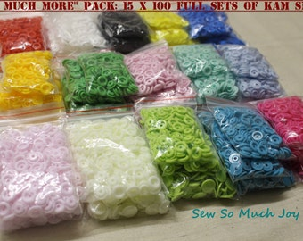 "Genuine KAM Snap ""Sew Much More"" Pack. 15x 100 full sets of size 20 plastic resin snaps poppers buttons. Australian Seller. Fast shipping."