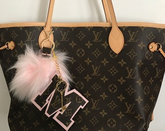 Pink XL Pom with XL Monogram initial-upcycled Louis Vuitton Materials