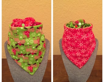 Christmas Bibdanas Handmade Customizable Reversible/Waterproof for Infants and Toddlers