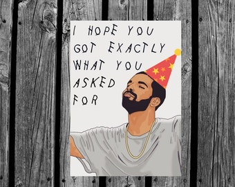Personalized printed Drake Hotline bling, happy birthday card for her/him or friend