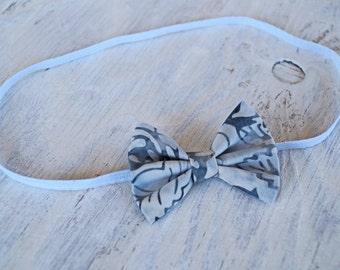 Blue Cream Bow Headband or Clip, Hair Clip, Bow Headband