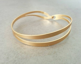 Gold Cuff Bracelet, Gold Cuff, Gold Bracelet, Wave Braclete, Wedding Jewelry, Simple Bracelet, Gift For Her, Bridesmaid Gift Bracelet
