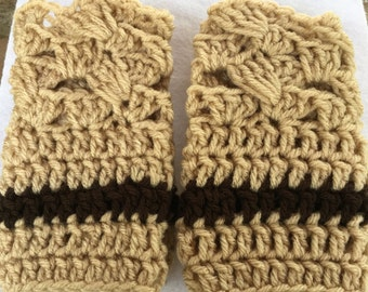 Handmade Crochet Boot Cuffs/Womans Winter/Fall Accessories /Tan Boot Cuffs/