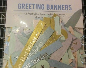 Bag of assorted greetings banners