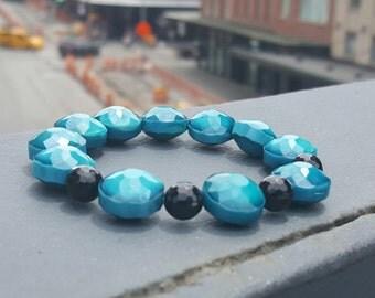 Women's Beaded Bracelet-Blue Beaded Bracelet with Onyx Accent Beads