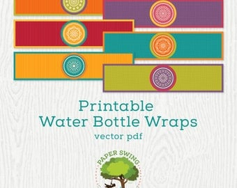 Printable Fiesta Water Bottle Wraps