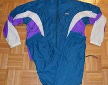Mens Vintage VTG Large Asics 2 Pice Nylon Windbreaker Rain Suit Jacket Joggers Pants Blue Purple White
