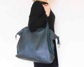 Large leather bag handstitched