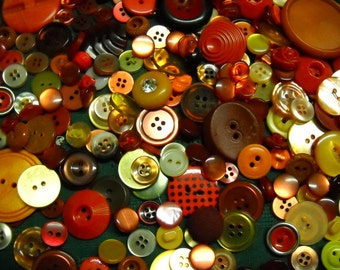 "225 Buttons Reds Oranges Some Yellow Most Vintage 1/2"" to 2"""