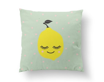 Lemon Pillow, Kids Pillow, Home Decor, Cushion Cover, Throw Pillow, Bedroom Decor, Bed Pillow, Decorative Pillow, Nursery Decor, Kitchen Art