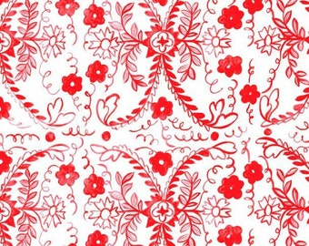 Heritage Floral  Tea Party Cotton Quilt Fabric Blend  Red