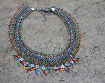 colorful necklace,wire knitting necklace,handmade