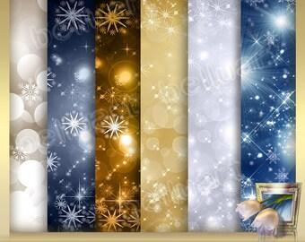 12 Christmas digital Backdrops Vol. 8 -Bokeh Digital Paper - bokeh backgrounds - Digital Bokeh Backdrop - Shiny  - Instant Download