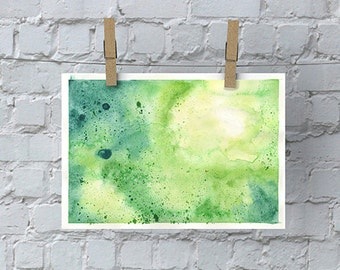 ORIGINAL Hand Painted Abstract Watercolor Composition in Yellow and Green
