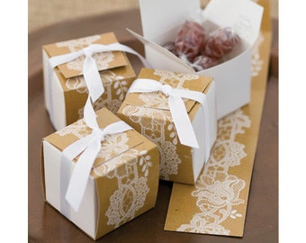 25 CT Rustic Lace Favor Boxes/ Kraft Paper Favor Boxes/ Lace Candy Boxes/ Kraft and Lace Wedding Favor Boxes/ Rustic Party Supplies