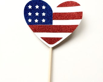 Glitter American Flag Heart Photo Booth Prop - Red, White and Blue Party Forth (4th) of July