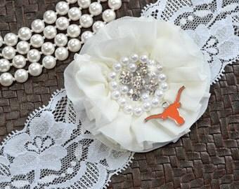 Texas Longhorns Wedding Garter Set, Texas Longhorns Bridal Garter Set, Longhorns Garter, White Lace Wedding Garter