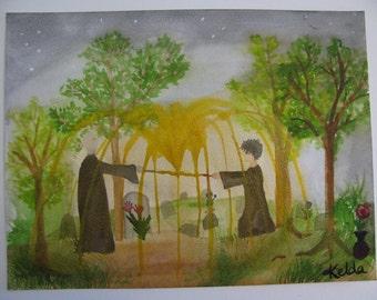 Priori Incantatem -Harry Potter Fan Art Original Watercolor