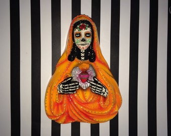 Large Day of the Dead Sugar Skull Wall Hanging Sacred Heart Mary