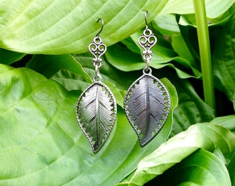 Silver Leaf Earrings, One-of-a-Kind