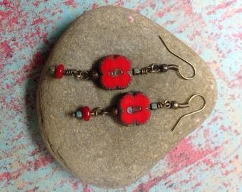 Red Czech Glass Dangle Earrings