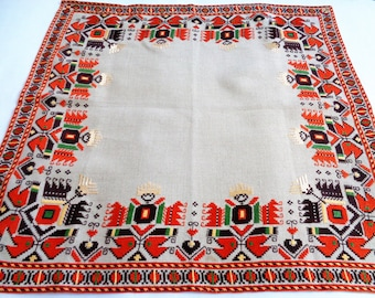Embroidered Tablecloth, Linen Embroidered Bulgarian Tablecloth, Bulgarian embroidery, Ethnic Embtoidered Tablecloth, linen, 60s