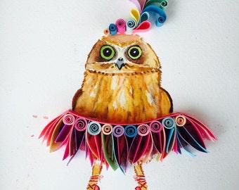 """Quilled art """"Dancer little owl"""""""