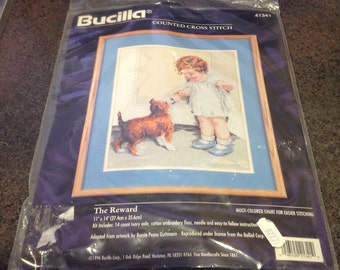 "Bucilla Counted Cross Stitch Kit 41341 The Reward Little Girl Sharing Ice Cream With Dog Puppy New Sealed 11 "" x 14 """