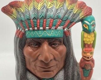 Toby Jug Mug Native American Indian Chief Headdress Totempole Handle Ceramic Vibrant Multi Colour