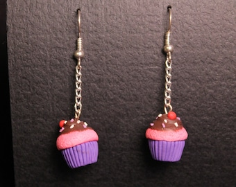 Cupcake Earrings Pink with Chocolate Icing
