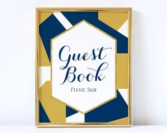 PRINTABLE Geometric Guest Book Sign, Printable Wedding Guest Book Sign, Navy Blue and Gold Wedding Decor, INSTANT DOWNLOAD