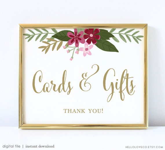 Items similar to printable cards and gifts wedding sign for Table 6 gift card