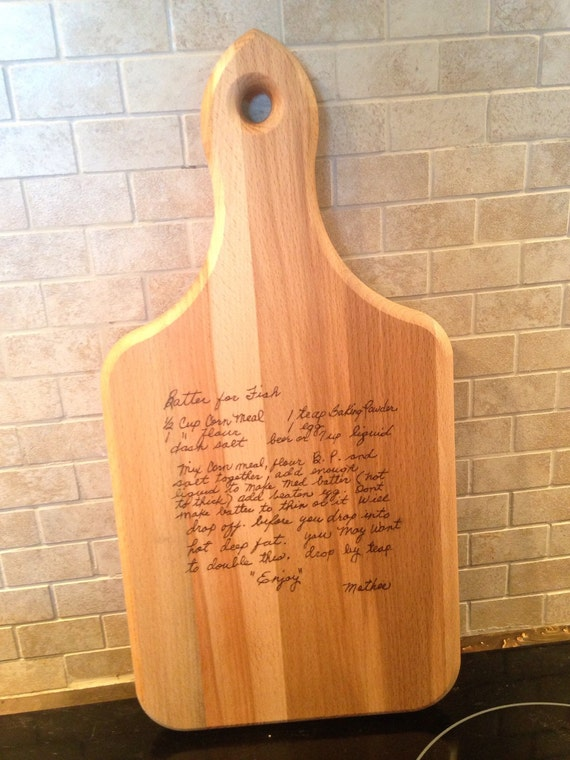 Wood Burned Recipe Cutting Board Handwritten