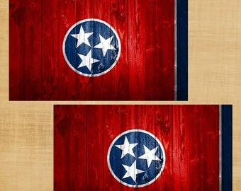 Tennessee State Flag with rustic Wood Panel Effect Sticker Decal Set