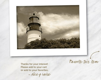 Key West lighthouse landscape 12x18 Black & White Warm tone fine art print matted to 24x18. Artist signed