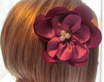 Dusty Pink Flower Barrette/Fascinator Hair Piece