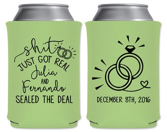 personalized funny wedding favors can coolers beverage insulators shit just got real custom beer